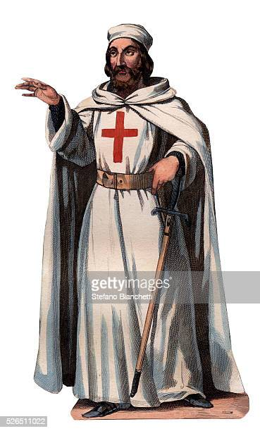 Portrait of James of Molay Grand Master of the Knights Templar engraving frome in Histoire des papes by Maurice Lachatre