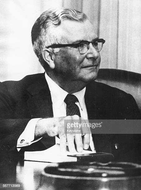 Portrait of James Russell Wiggins editor of the Washington Post newspaper appointed US representative to the United Nations October 7th 1968