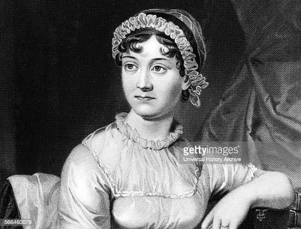 Portrait of Jane Austen English novelist whose works or romantic fiction Dated 1810