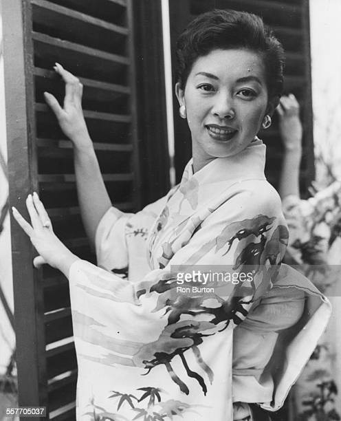 Portrait of Japanese actress Hideko Takamine wearing a kimono in her hotel room at the Westbury Hotel London February 1st 1958