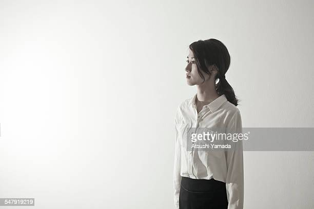 Portrait of Japanese business woman, side view