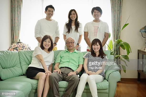 Portrait of Japanese Family in home