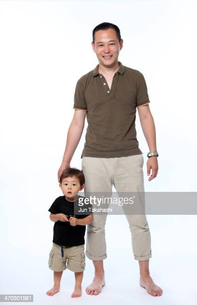 portrait of japanese father and son