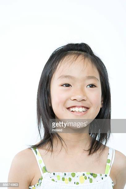 portrait of japanese girl (8-9 years), smiling - 8 9 years stock pictures, royalty-free photos & images