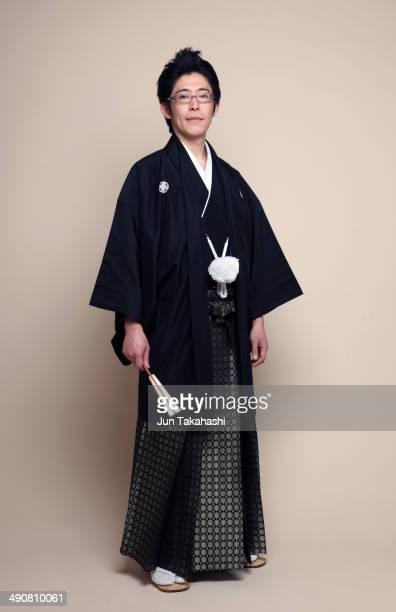 portrait of japanese man - kimono stock pictures, royalty-free photos & images