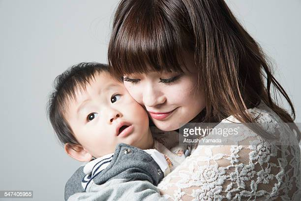 Portrait of Japanese mother and baby