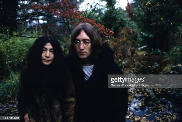 Portrait of Japanese-born artist and musician Yoko Ono and British musican and artist John Lennon , December 1968.