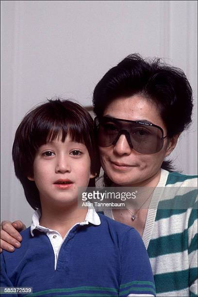 Portrait of Japaneseborn artist and musician Yoko Ono and her son future musician Sean Lennon in their home at the Dakota Apartments New York New...