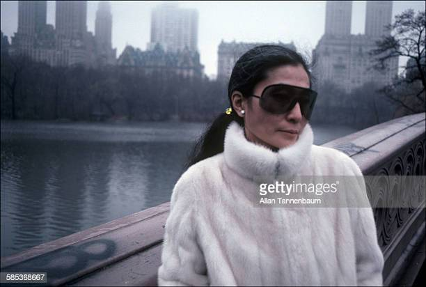 Portrait of Japaneseborn artist and musician Yoko Ono in sunglasses and a fur coat in Central Park New York New York February 22 1981