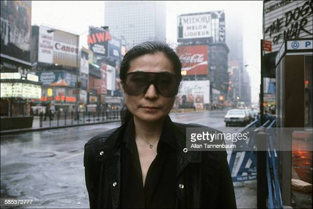 Portrait of Japaneseborn artist and musician Yoko Ono in Times Square New York New York February 22 1981