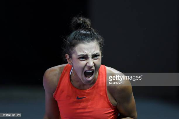 Portrait of Jaquelin Cristian celebrating after scoring against Ajla Tomljanovic during day five of WTA 250 Transylvania Open Tour held in BT Arena,...