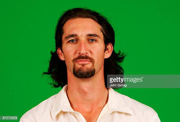 Portrait of Jason Gillespie of Australia taken during a photocall at the Royal Gardens Hotel on July 18 2005 in London England