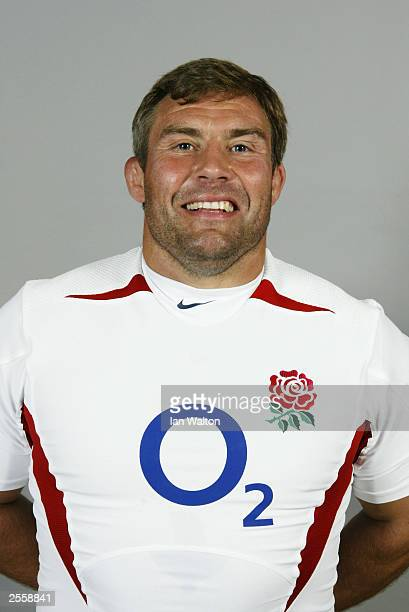 Portrait of Jason Leonard of England taken during the England Rugby Union squad photocall held on September 17 2003 at Pennyhill Park in Bagshot...