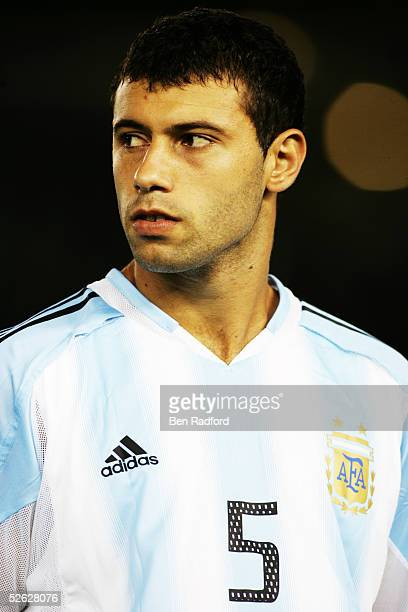 A portrait of Javier Mascherano of Argentina prior to the 2006 World Cup qualifying match between Argentina and Colombia at The River Plate Stadium...