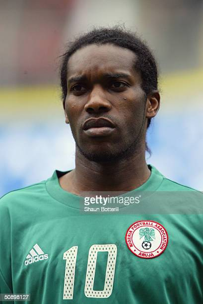 Portrait of Jay Jay Okocha of Nigeria taken prior to the African Nations Cup 2004 SemiFinal match between Tunisia and Nigeria held at the Olympic...