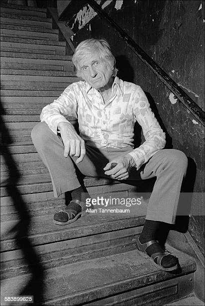 Portrait of Jazz musician Gil Evans on a staircase backstage at the Village Vanguard New York New York September 15 1974