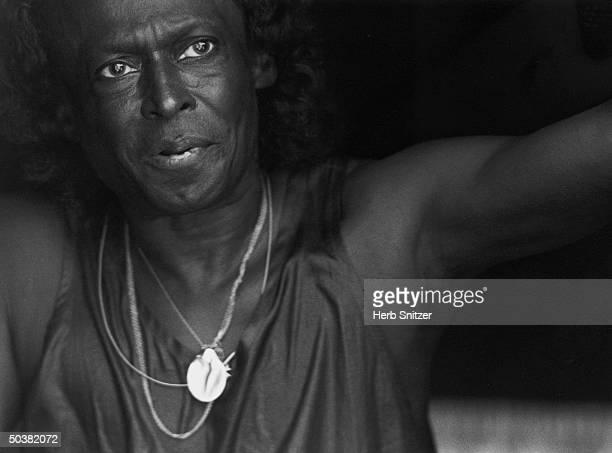 Portrait of jazz musician Miles Davis