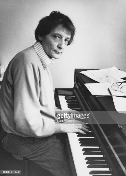 Portrait of jazz pianist Stan Tracey playing his instrument March 16th 1984