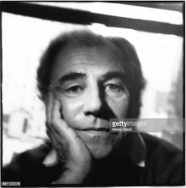 Portrait of Jean Baudrillard , philosopher, cultural theorist, intellectual. Manhattan midtown hotel, New York City, New York. February 28, 1987.