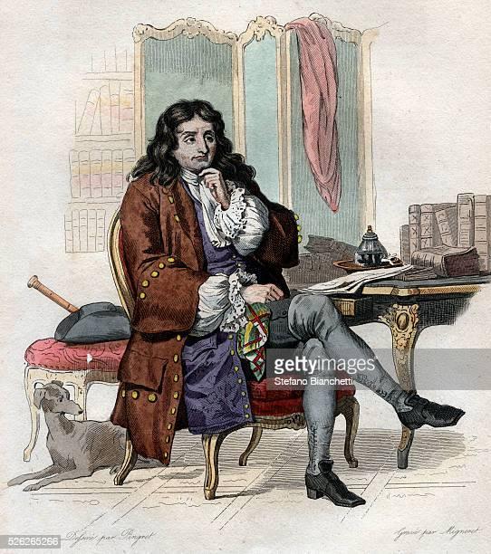 Portrait of Jean de La Fontaine French fabulist and poet Illustration from Le Plutarque Francais by Edmond Mennechet 1836 �� Stefano Bianchetti/Corbis