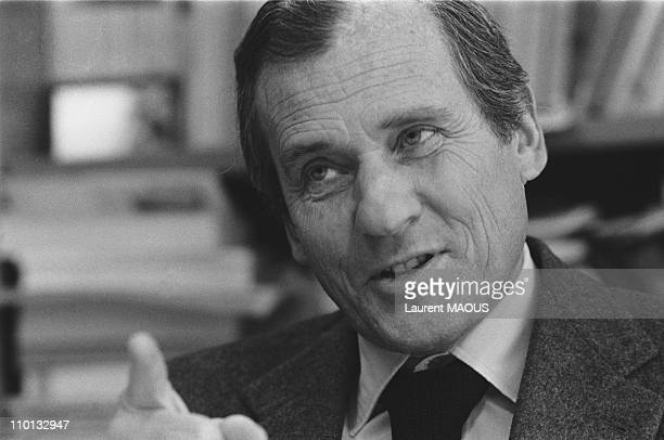 Portrait of Jean d'Ormesson in his UNESCO office in Paris France on February 6 1981