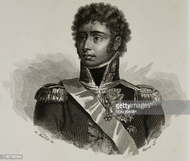 Portrait of JeanBaptiste Jules Bernadotte French general engraving by Magonio after a drawing by De Maurizio from Vite dei primarj marescialli e...