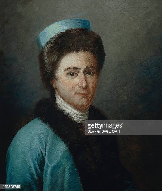 Portrait of JeanJacques Rousseau Swiss writer philosopher and musician wearing an Armenian costume Pastel 18th century Fontaine Chaalis Musée...
