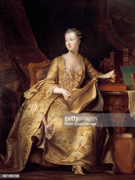 Portrait of Jeanne Antoinette Poisson Madame de Pompadour holding a musical score Painting by Charles Auguste Steuben 19th century 165x132 m Castle...