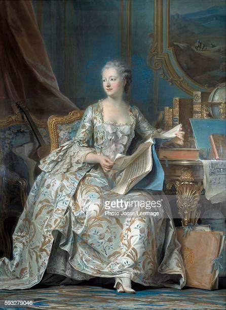 Portrait of Jeanne Antoinette Poisson, Marquise de Pompadour , mistress of King Louis XV. Painting by Maurice Quentin Delatour called Quentin De La...
