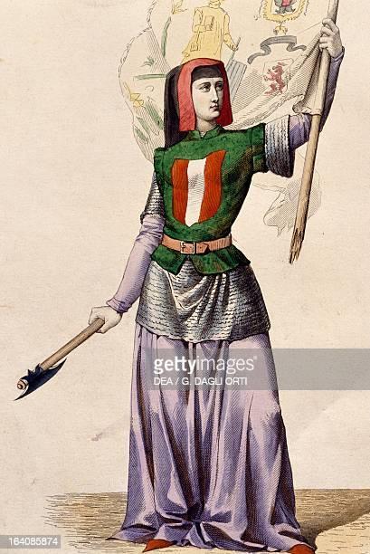 Portrait of Jeanne Fourquet called Hachette French heroine Engraving Paris Bibliothèque Des Arts Decoratifs