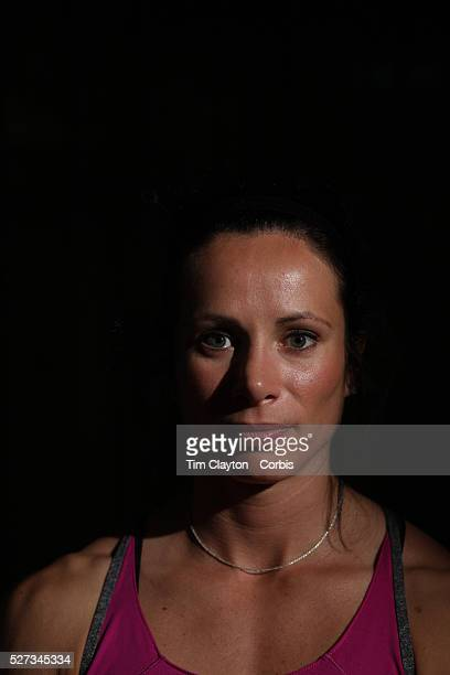 A portrait of Jenn Suhr USA Pole Vault 2012 Olympic Gold Medalist at the Adidas Grand Prix Press Conference Hyatt Grand Central New York ahead of the...