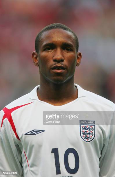 A portrait of Jermaine Defoe of England prior to the International friendly match between Denmark and England at The Parken Stadium on August 17 2005...