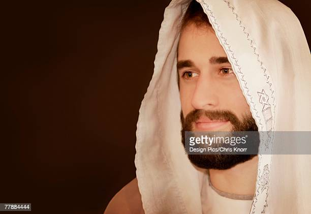 portrait of jesus - jewish prayer shawl stock pictures, royalty-free photos & images