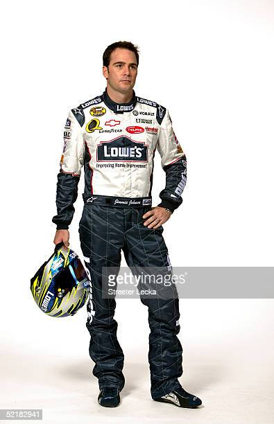Portrait of Jimmie Johnson driver of the Hendrick Motorsports Lowe's Chevrolet during Media Day at the NASCAR Nextel Cup Daytona 500 on February 10...
