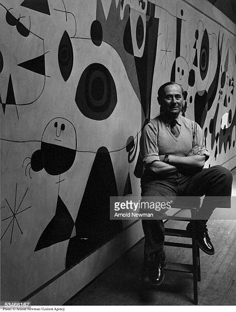 Portrait of Joan Miro Spanish Surrealist artist August 27 1947 in New York CityThe mural was painted for a Gordon Bunschaft designed hotel in...