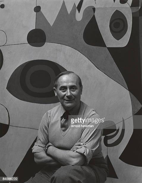 Portrait of Joan Miro Spanish Surrealist artist August 27 1947 in New York City The mural was painted for a Gordon Bunschaft designed hotel in...