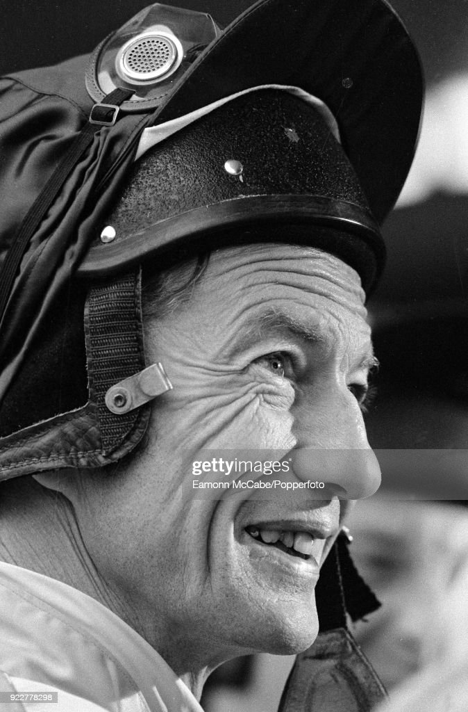 Portrait of jockey Lester Piggott at Sandown Races in 1984.