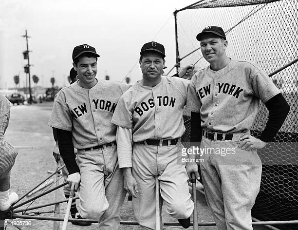 Portrait of Joe DiMaggio Jimmy Foxx and Bill Dickey in Florida at the allstar game for Finnish relief