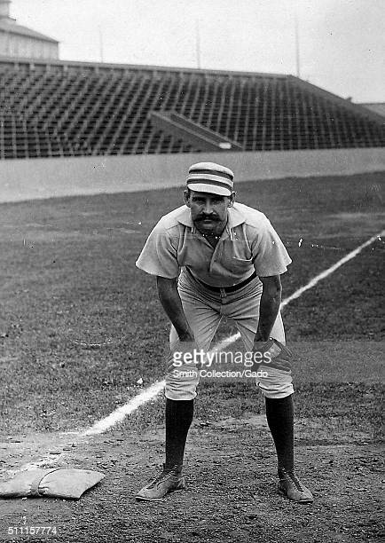 Portrait of Joe Mulvey American Major League Baseball third baseman from Providence Rhode Island standing on the field in a Philadelphia Phillies...
