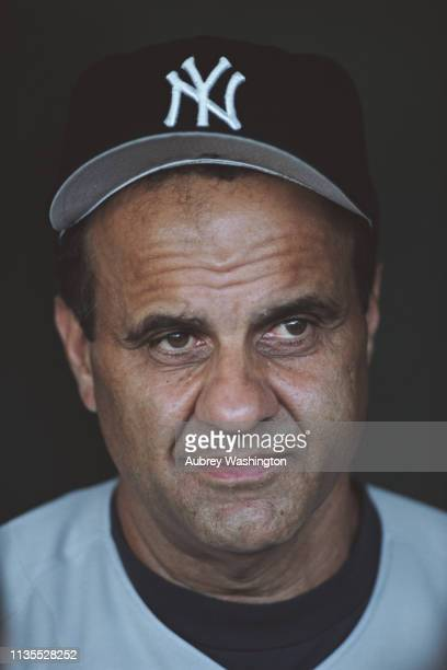 Portrait of Joe Torre coach of the New York Yankees during the Major League Baseball American League West game against the Anaheim Angels on 29 July...