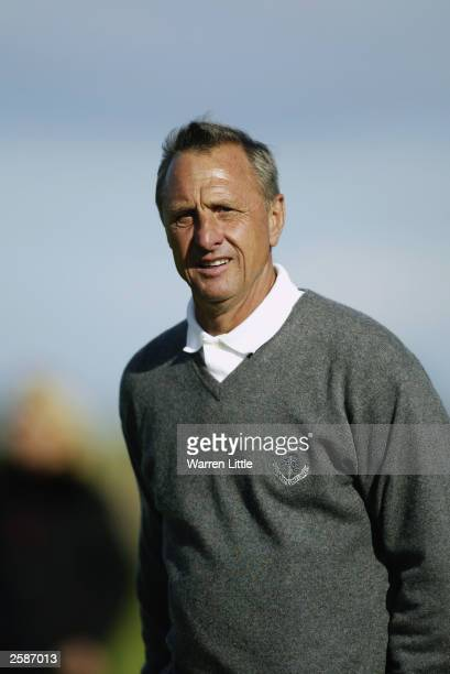 A portrait of Johan Cruyff of Holland during the second round of the 2003 Dunhill Links Championship on September 26 2003 at Carnoustie Golf Club in...
