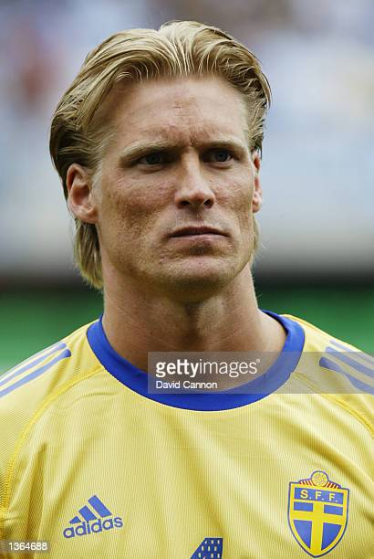Portrait of Johan Mjallby of Sweden before the FIFA World Cup Finals 2002 Group F match between Argentina and Sweden played at the Miyagi Stadium in...