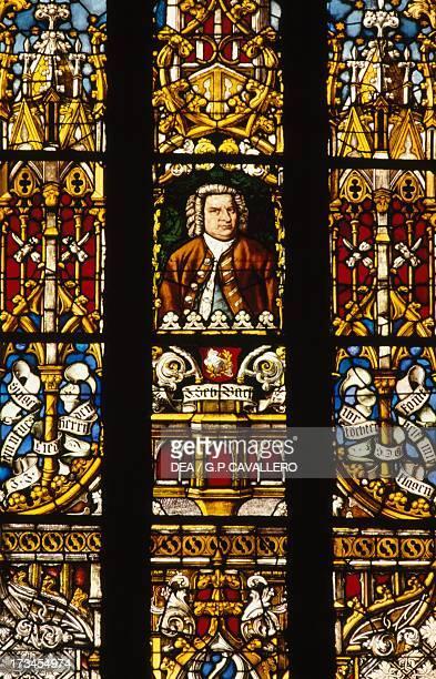 Portrait of Johann Sebastian Bach stained glass window St Thomas' Church Leipzig Saxony Germany