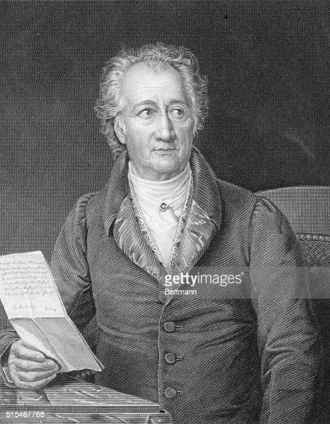 Portrait of Johann Wolfgang von Goethe German author and playwright wearing two medal on either side of his lapels. Undated engraving.