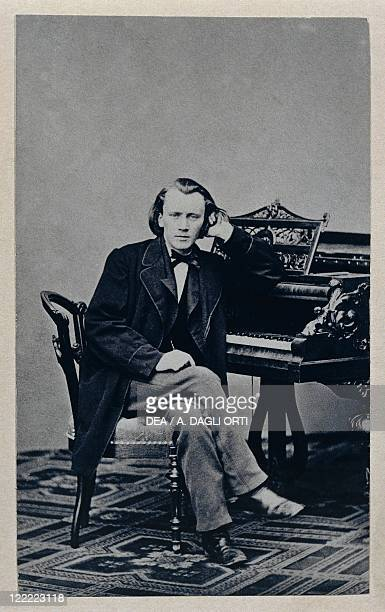 Portrait of Johannes Brahms German composer pianist and conductor at the piano