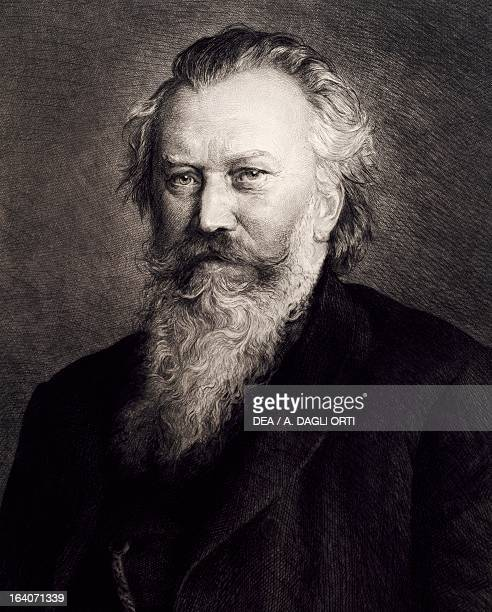 Portrait of Johannes Brahms German conductor and composer Engraving Vienna HaydnMuseum