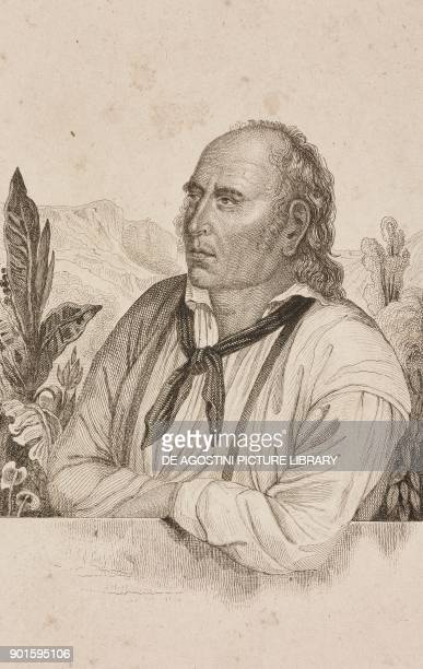 Portrait of John Adams founder of the Pitcairn colony Polynesia engraving by Danvin and Laderer from Oceanie ou Cinquieme partie du Monde Revue...