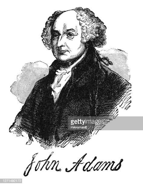 portrait of john adams, second president of the united states (1797 to 1801) - us president stock pictures, royalty-free photos & images