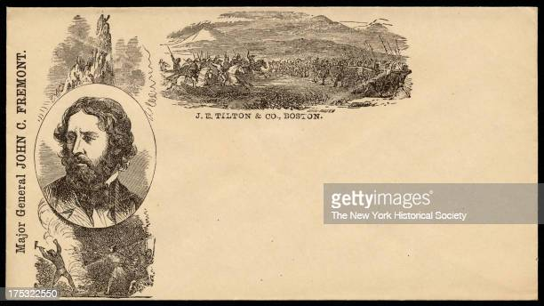 Portrait of John C Fremont and an image of soldiers as they charge a line of Native Americans archers