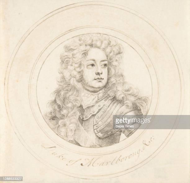 Portrait of John Churchill, 1st Duke of Marlborough, early 18th century, Pen and ink on vellum, diameter: 4 1/8 in. , Drawings, John Faber, the Elder...